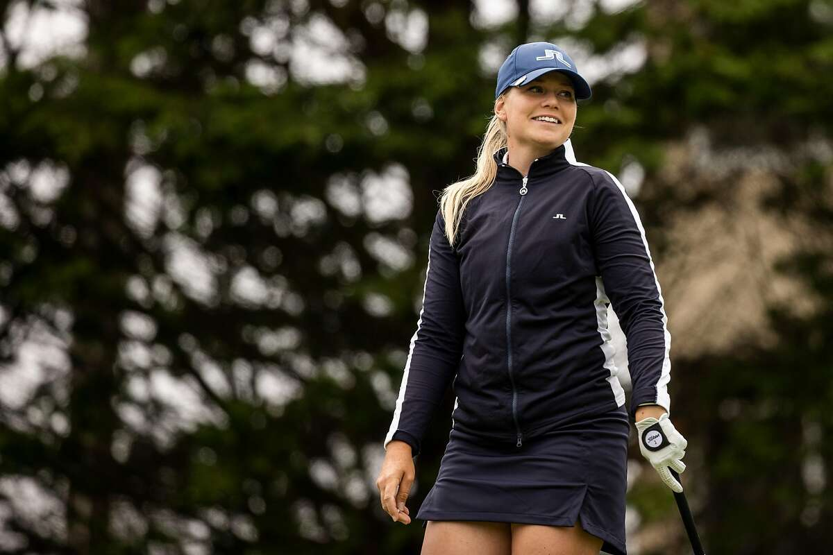 Matilda Castren of Finland smiles after a shot on the third hole during the final round of LPGA Mediheal Championship at Lake Merced Golf Club in Daly City, Calif. on Sunday, June 13, 2021.
