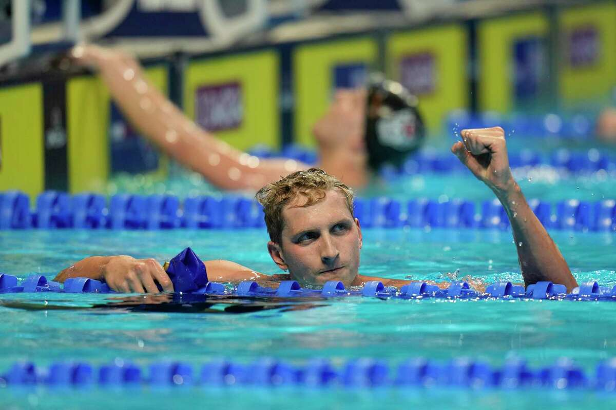 Kieran Smith reacts after winning the Men's 400 Freestyle during wave 2 of the U.S. Olympic Swim Trials on Sunday, June 13, 2021, in Omaha, Neb. (AP Photo/Jeff Roberson)
