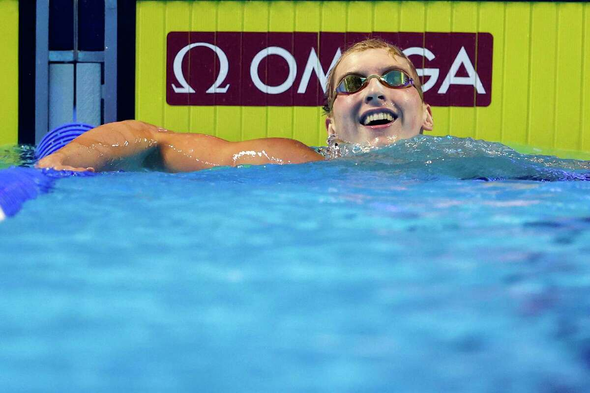 OMAHA, NEBRASKA - JUNE 13: Kieran Smith of the United States reacts after competing in the Men's 400m freestyle final during Day One of the 2021 U.S. Olympic Team Swimming Trials at CHI Health Center on June 13, 2021 in Omaha, Nebraska. (Photo by Al Bello/Getty Images)