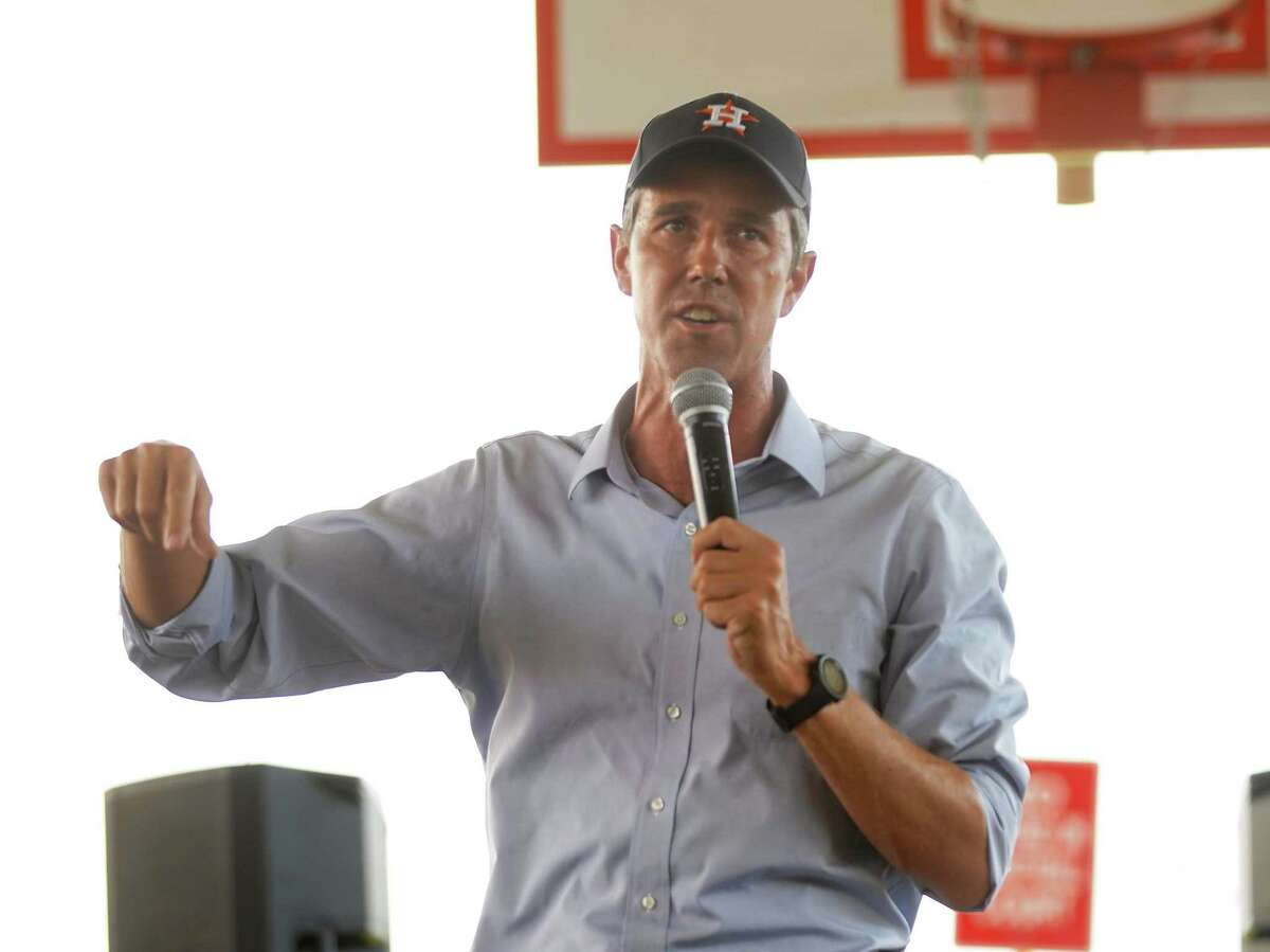 Beto O'Rourke addresses attendees during a Powered By People rally at Finnigan Park in Houston's Fifth Ward on Sunday, June 13, 2021. The tour was hitting multiple counties in Texas to drum up support for voting rights.