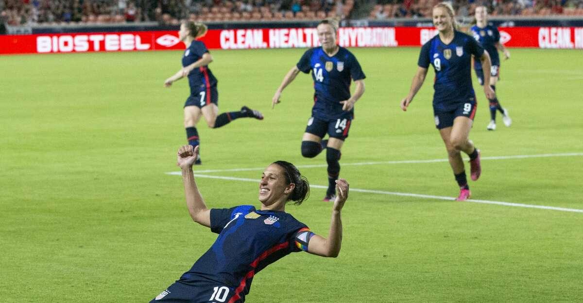 U.S. Women's National Team forward Carli Lloyd (10) celebrates her goal during the first 2021 Summer Series match against the Jamaica Women's National Football Team Sunday, June 13, 2021, at BBVA Stadium in Houston.