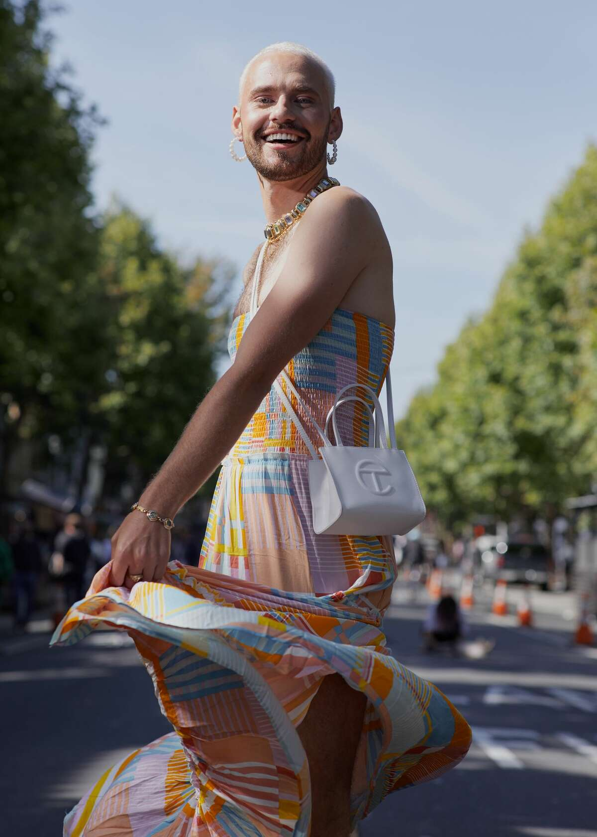 Brendan Dunlap, a substitute teacher, in the Mission District of San Francisco on June 5, 2021. Gender fluidity enters its next phase as men increasingly step out in skirts and frocks. (Peter Prato/The New York Times)