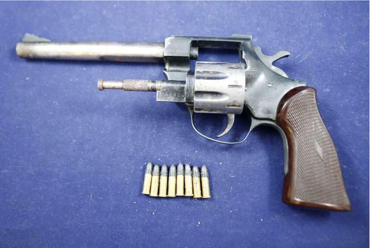 The stolen gun and ammunition seized during an arrest in Waterbury, Conn., on Friday, June 11, 2021.