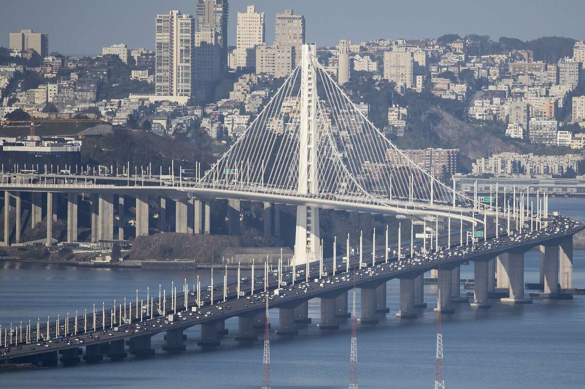 Cars move comfortably on the Bay Bridge into San Francisco, Calif.