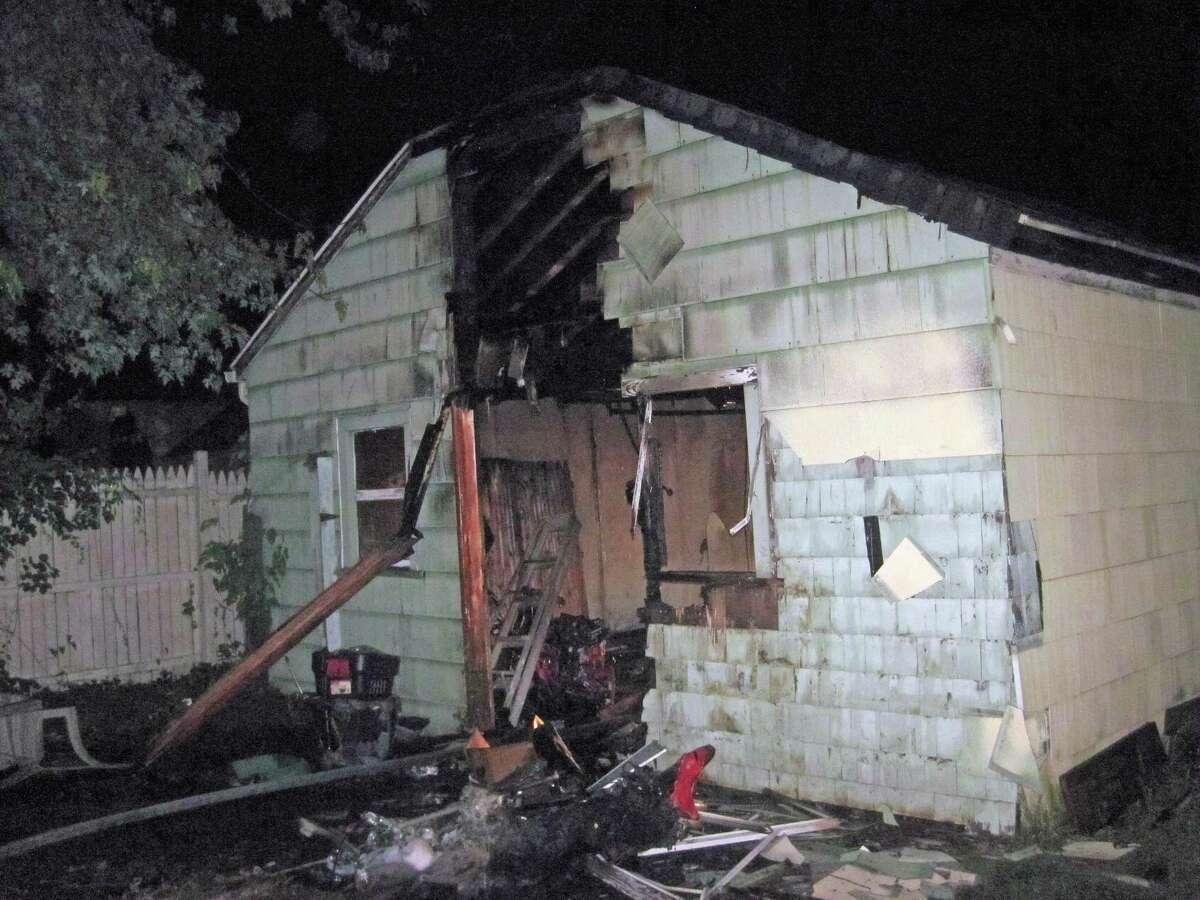 A fire on Sunday, June 13, 2021, at a detached garage at a Hamden, Conn., home.