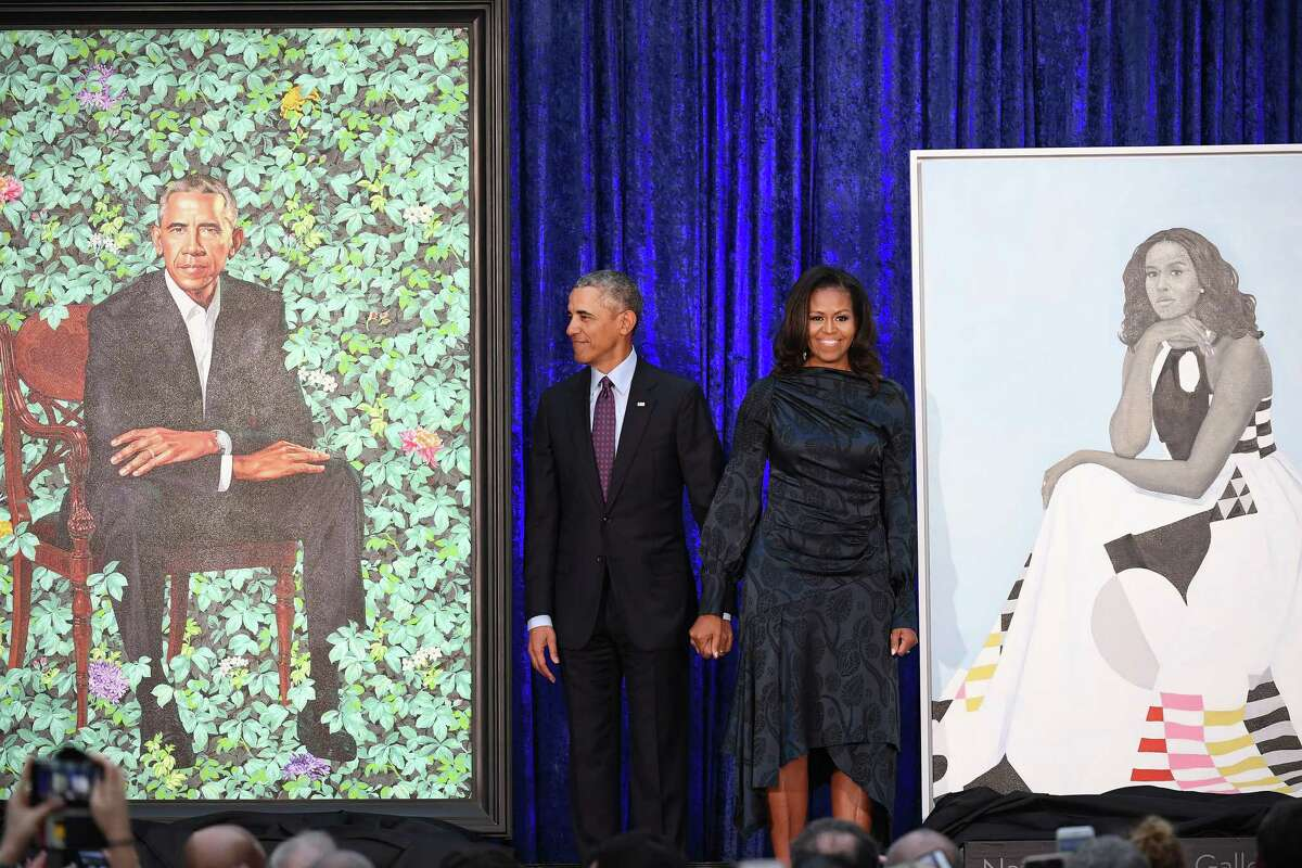 Former president Barack Obama and first lady Michelle Obama have their portraits unveiled at the Smithsonian National Portrait Gallery in 2018 in Washington.