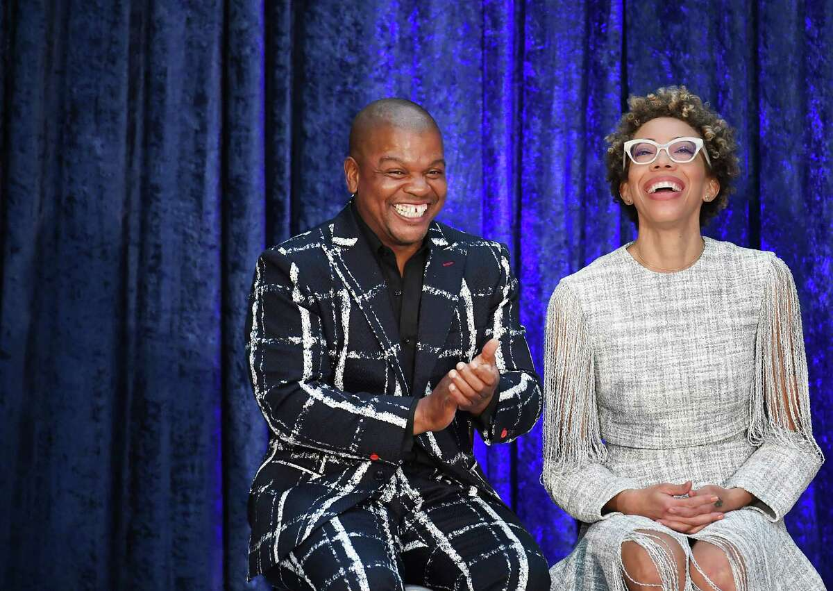 Artists Kehinde Wiley and Amy Sherald during the unveiling of the official portraits of former president Barack Obama and first lady Michelle Obama at the Smithsonian National Portrait Gallery.