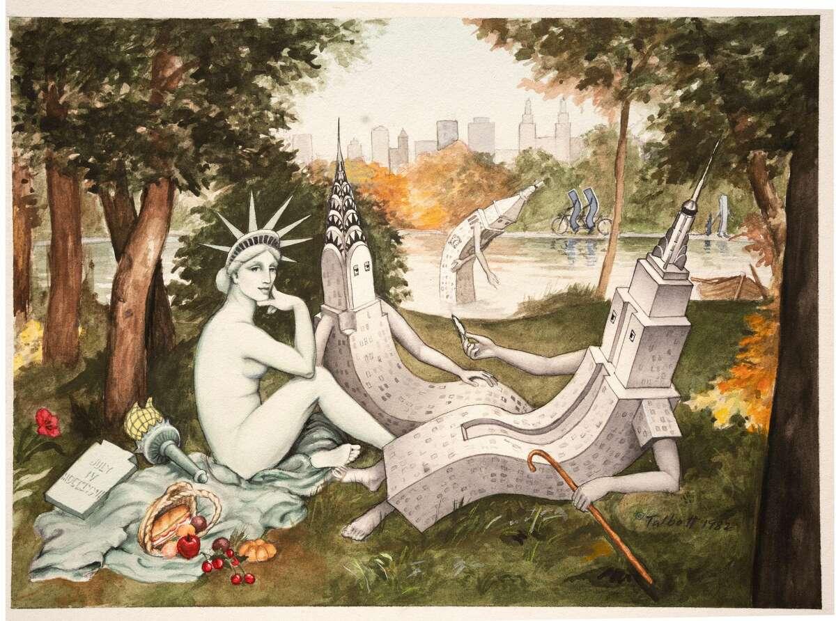 """Luncheon on the Grass"" art for Hudson Talbott book."