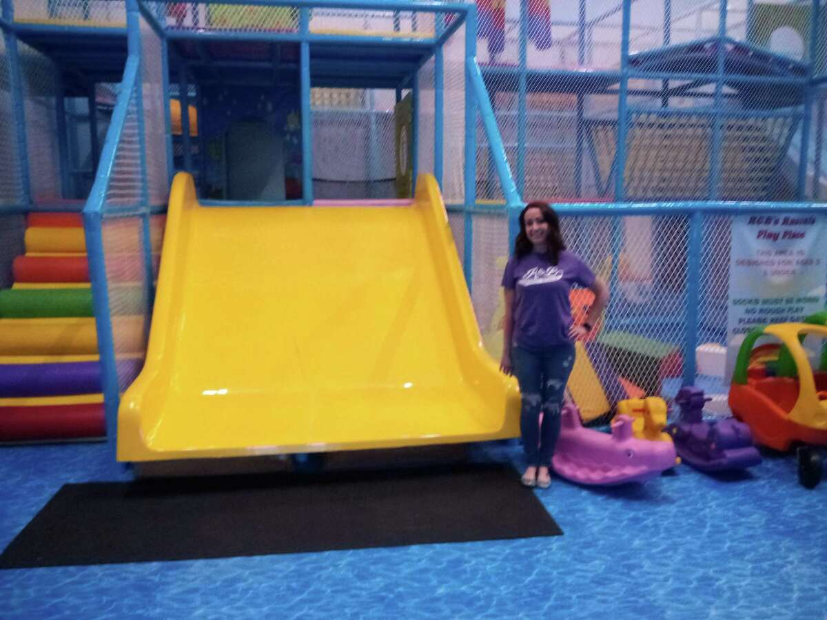 R&B Sports World on Rowley Street, Winsted, is ready for a busy summer. Owner Rachel Gagnon shows the facility's indoor playground.