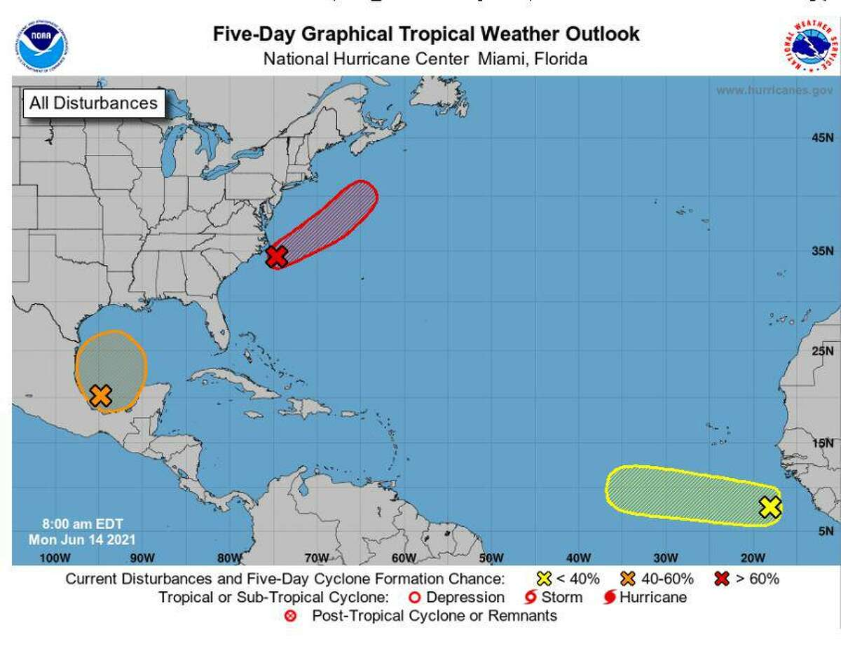 The National Hurricane Center increased the chance Monday for tropical development in the Gulf of Mexico to 60%.
