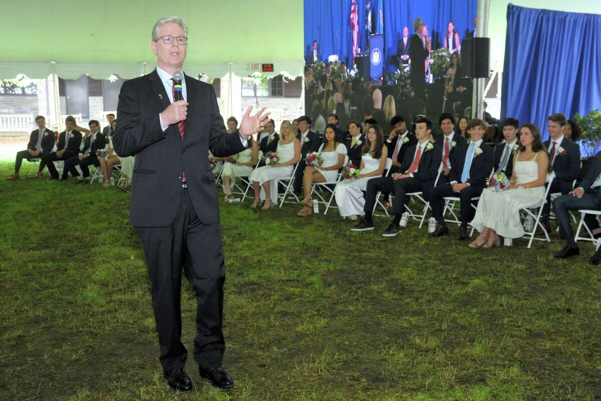 Head of School Bob Whelan speaks during commencement for Greens Farms Academy's class of 2021, in Westport, Conn. June 10, 2021.