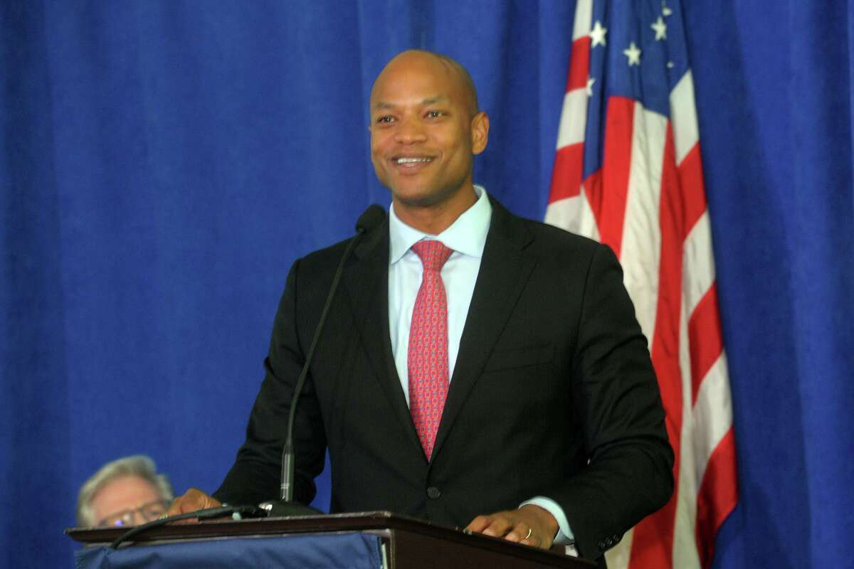 Guest speaker Wes Moore delivers his keynote address at the Greens Farms Academy Class of 2021 launch in Westport, Connecticut on June 10, 2021.