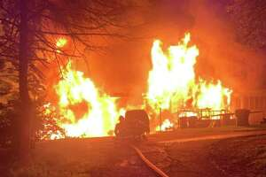 Five adults, two children and two dogs were displaced from their Higby Road home following a blaze at 4:30 a.m. Saturday in Middletown. Three other family dogs died in the fire, officials said.