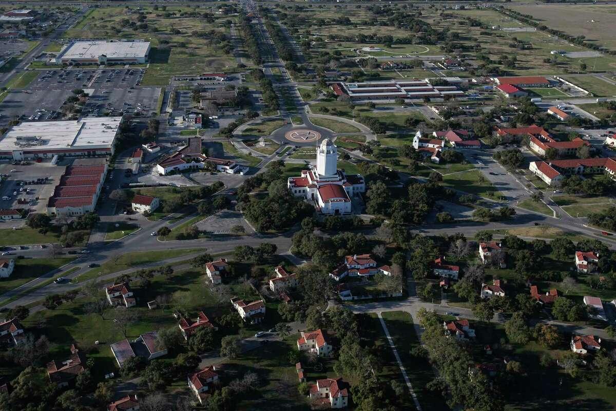 Joint Base San Antonio-Randolph seen at sunset in 2016.