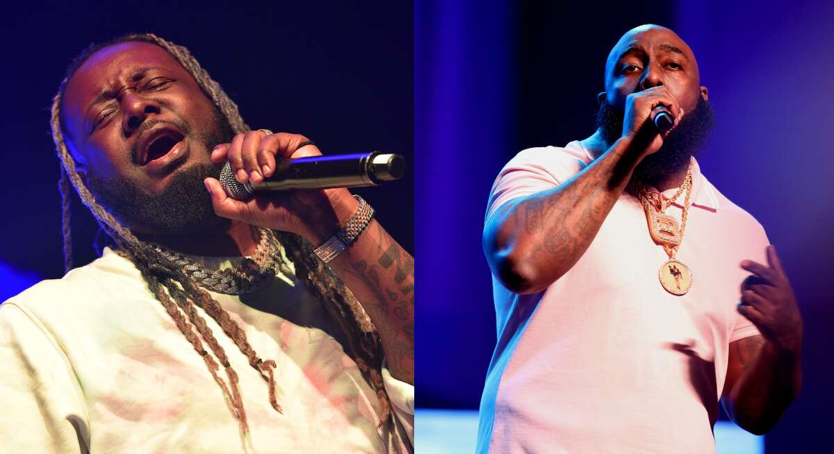 """T-Pain name-dropped Houston rapper Trae Tha Truth in the latest episode of the """"85 South"""" Show. (Composite, Photo by Prince Williams/Wireimage,Carmen Mandato/Getty Images)"""