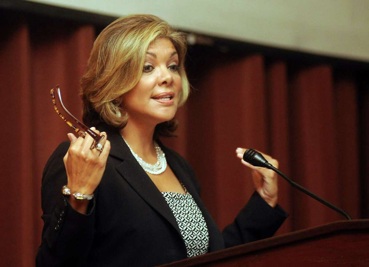 File photo from 2013 shows Eva Guzman speaking at the Youth Leadership Forum on the Rice University campus Friday Sept.20 2013. Guzman, a former Texas Supreme Court justice, has taken steps to challenge Attorney General Ken Paxton.