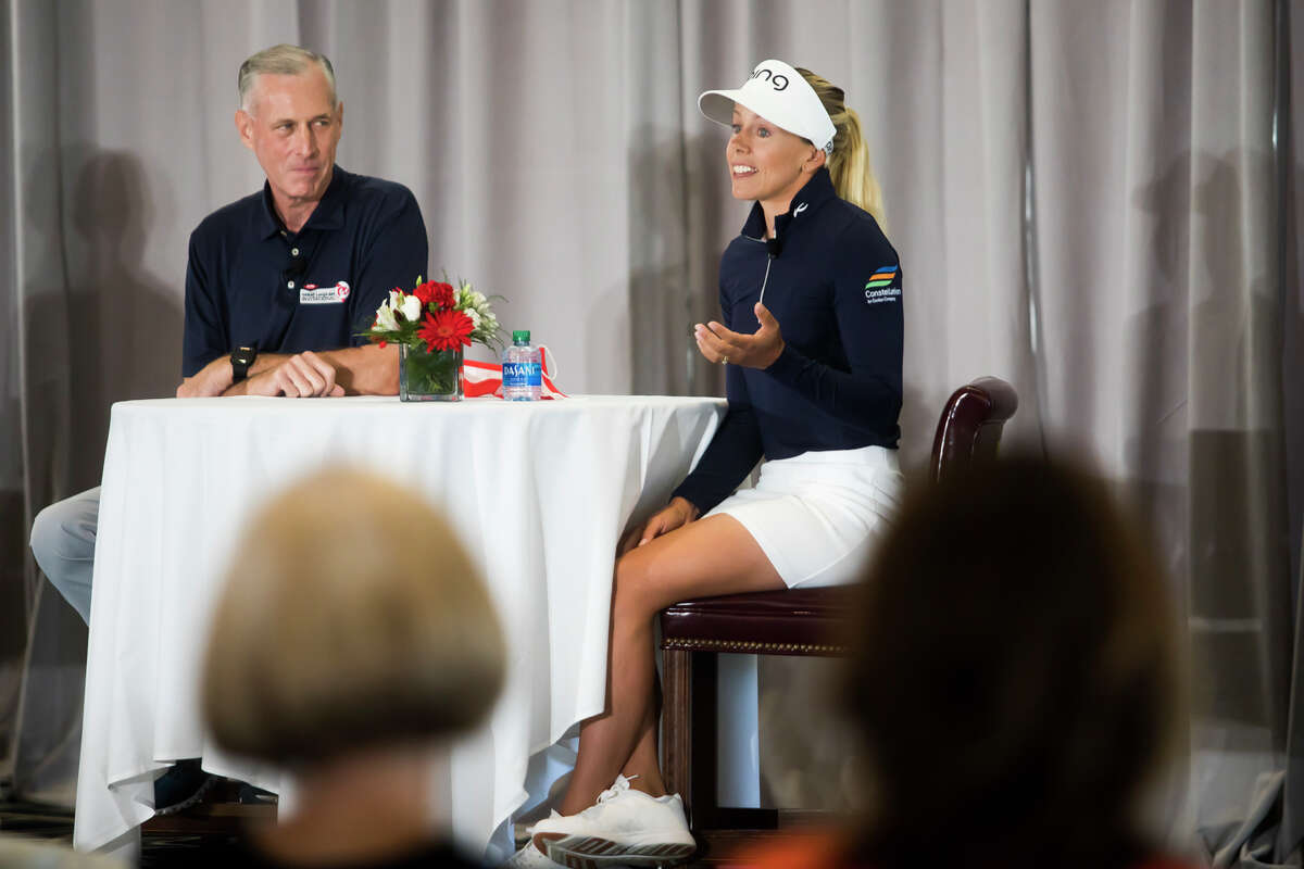 LPGA player Pernilla Lindberg speaks during a Media Day event for the Dow Great Lakes Bay Invitational Monday, June 14, 2021 at the Midland Country Club. (Katy Kildee/kkildee@mdn.net)