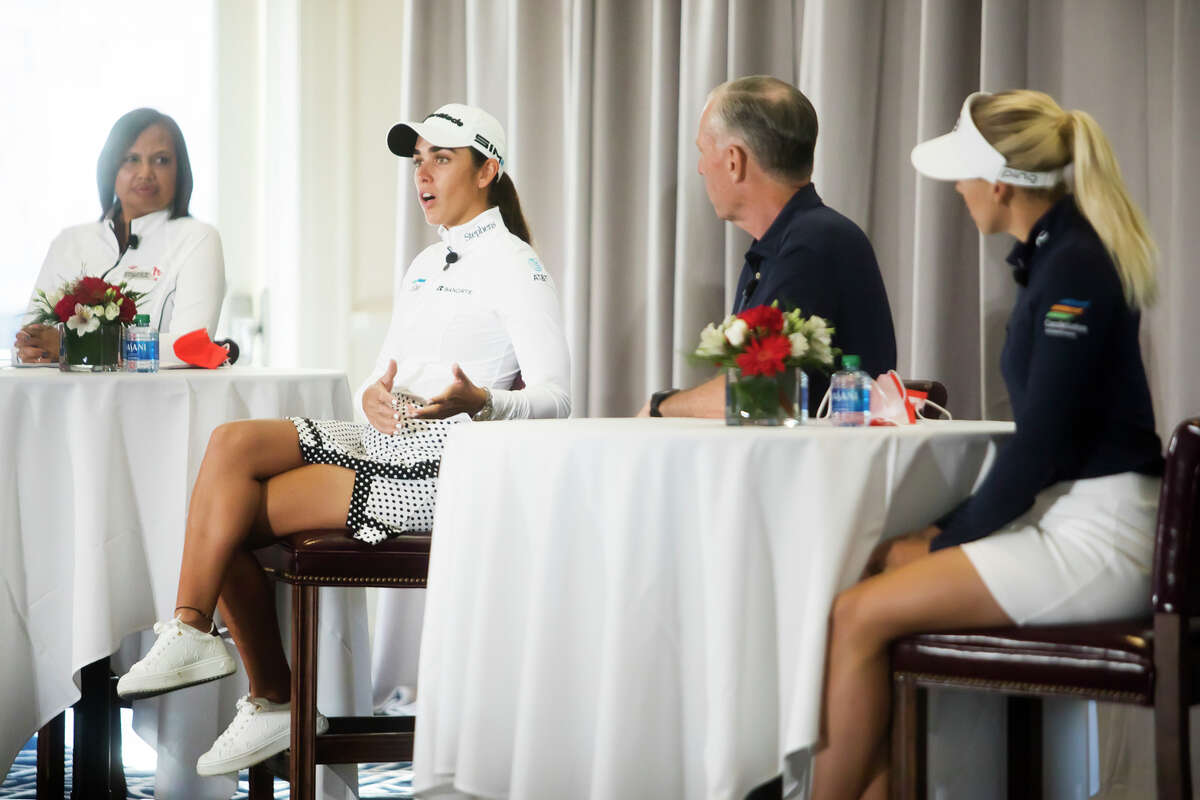LPGA player and Dow ambassador Maria Fassi speaks during a Media Day event for the Dow Great Lakes Bay Invitational Monday, June 14, 2021 at the Midland Country Club. (Katy Kildee/kkildee@mdn.net)