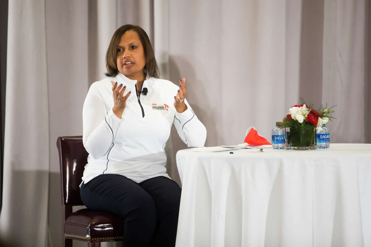 Karen S. Carter, Dow's chief inclusion officer and chief human resources officer, speaks during a Media Day event for the Dow Great Lakes Bay Invitational Monday, June 14, 2021 at the Midland Country Club. (Katy Kildee/kkildee@mdn.net)