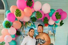 """Alexis Collins and Jordan Santos stole the show at a """"Dress Like Your Spouse"""" party hosted by their family that has now gone viral on Facebook."""
