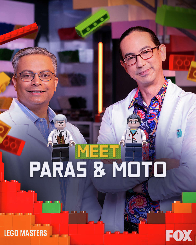 "The team of Paras Patani and Michael ""Moto"" Kanemoto on ""LEGO Masters."""