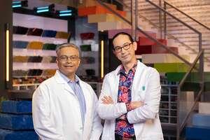 "Paras Patani and Michael ""Moto"" Kanemoto on the set of ""LEGO Masters."""