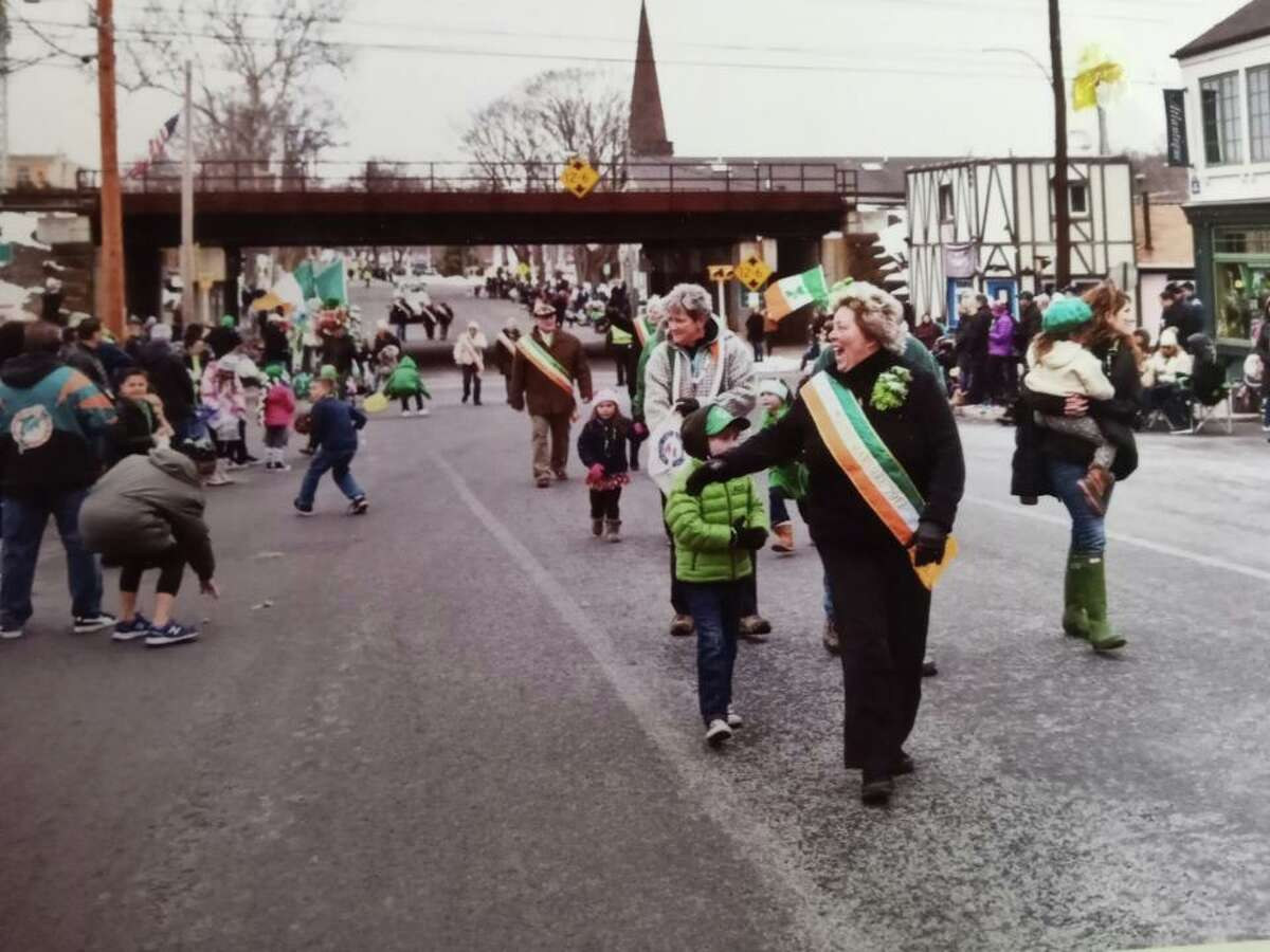 Nell Moll as Grand Marshal at the 2017 Milford St. Patrick's Day Parade.