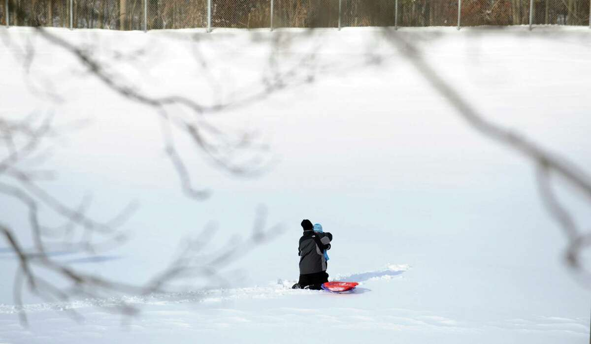 Sledding is one of the winter options at East Village Park in Shelton; the summer options - tennis, basketball and handball courts - are being renovated.