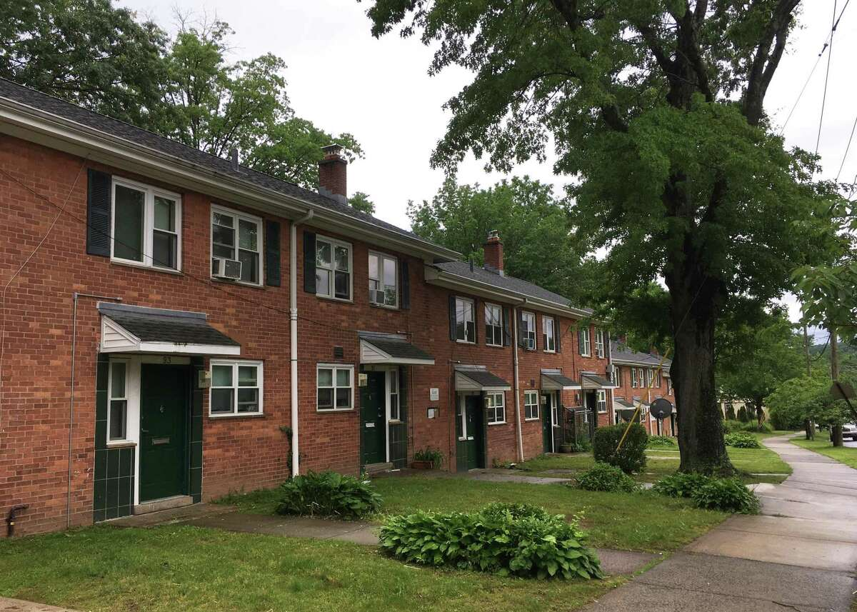 In June 2021, the state of Connecticut's UniteCT mobile bus was around the corner from these apartments on East Ramsdell St. in New Haven, allowing people to fill out applications for rental assistance.