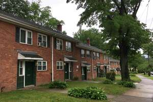 Apartments on East Ramsdell St. in New Haven, Conn. under the supervision of Elm City Communities. The state of Connecticut's UniteCT mobile bus was around the corner on Monday, June 14, 2021, allowing people to fill out applications for rental assistance.
