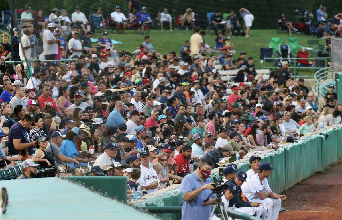 Missions fans pack left field seats as the team hosts the Midland RockHounds at Wolff Stadium on Tuesday, June 8, 2021. The facility was opened to full capacity seating for the first time since the pandemic.