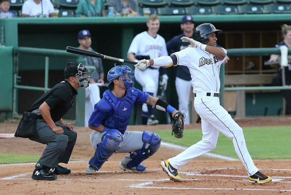CJ Abrams, left, is the No. 8 prospect in MLB and has turned heads with his bat in particular during his first full professional season. Despite being the youngest player in the Double-A Central league, he leads the Missions with a .307 batting average.