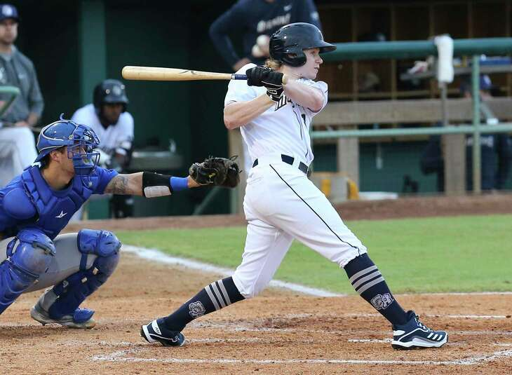 Missions' Jack Suwinski (08) hits a single against the Midland RockHounds at Wolff Stadium on Tuesday, June 8, 2021. The facility was opened to full capacity seating for the first time since the pandemic.