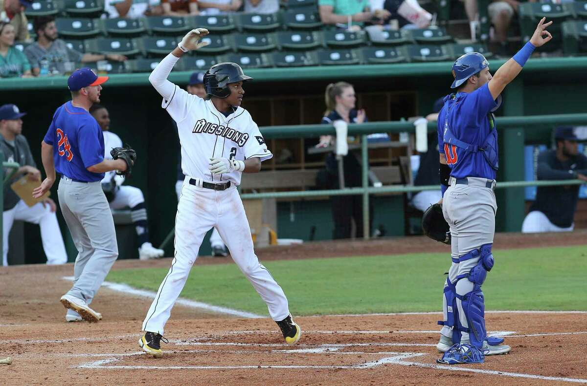 Missions' C.J. Abrams (02) scores the team's first run in the first inning against the Midland Rockhounds at Wolff Stadium on Tuesday, June 8, 2021. The facility was opened to full capacity seating for the first time since the pandemic.