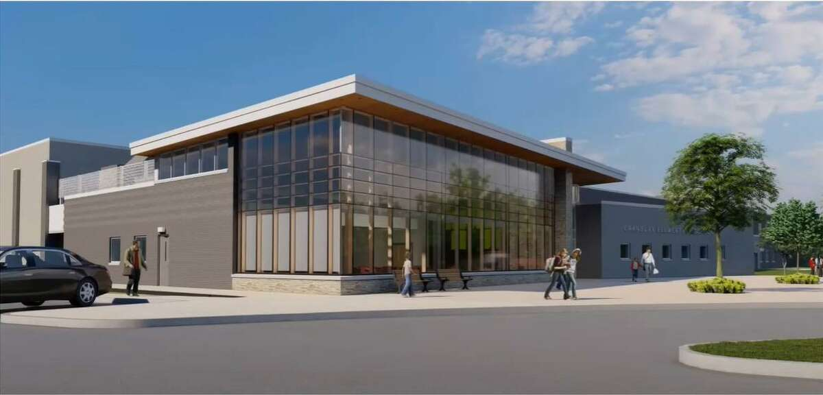 A rendering shows plans for a new Cranbury Elementary School.