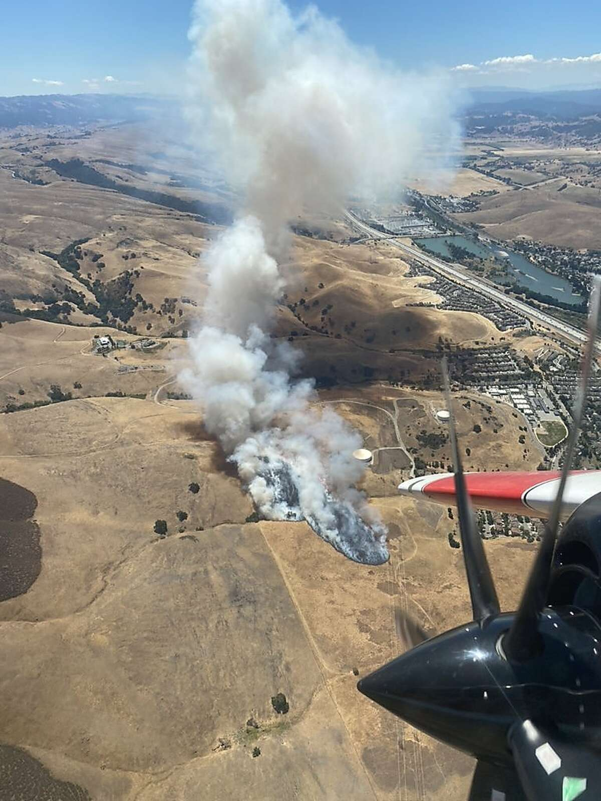 Firefighters are at scene of a vegetation fire on Silicon Valley Road and Basking Ridge in the San Jose area.