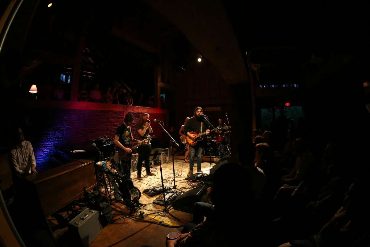 """Sean Walsh and the National Reserve perform at Levon Helm Studios (also known as """"The Barn"""") in Woodstock."""