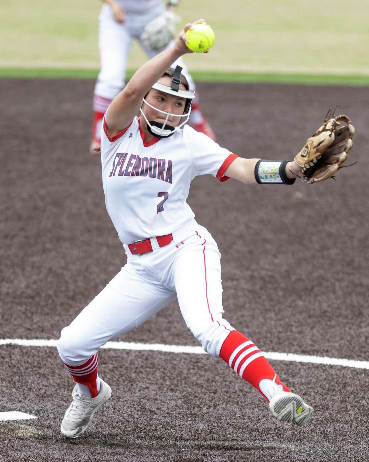 Splendora pitcher Brooke Martin (2) throws during the fourth inning of a District 21-4A softball game against Huffman-Hargrave at Splendora High School, Tuesday, March 16, 2021, in Splendora