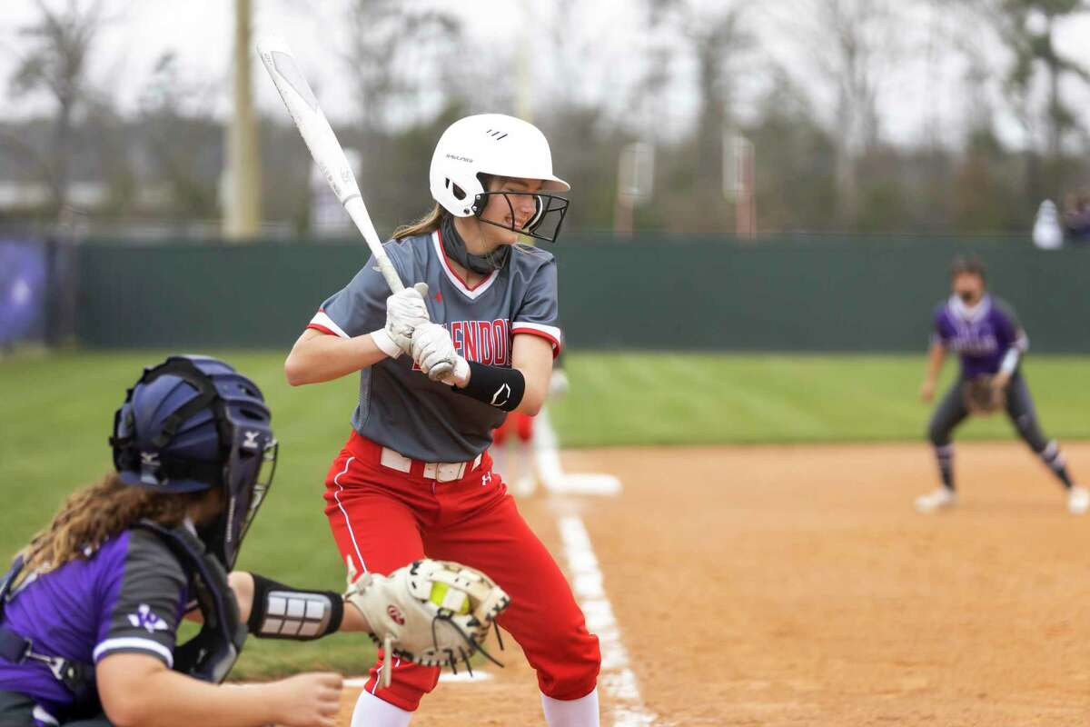 Splendora infielder Katie Brzowski (6) laughs after she fails to connect with a pitcu during the second inning of a high school softball game against Willis at Willis High School, Friday, March 5, 2021, in Willis.