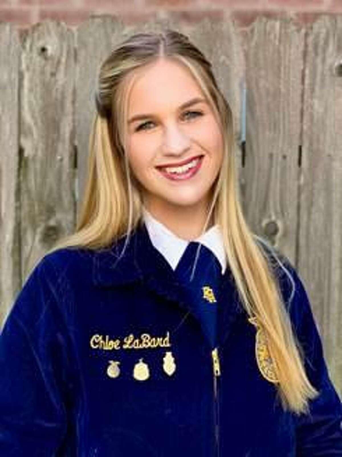 Taylor High School's Chloe LaBard recently earned a $20,000 scholarship from the Texas FFA Association.