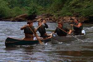 """Sure, it's all smiles at the beginning of the trip in """"Deliverance,"""" but retroactive words of advice for you, Ned Beatty (second from right, with, from left, Ronny Cox, Jon Voight and Burt Reynolds): DON'T GET IN THE CANOES!"""