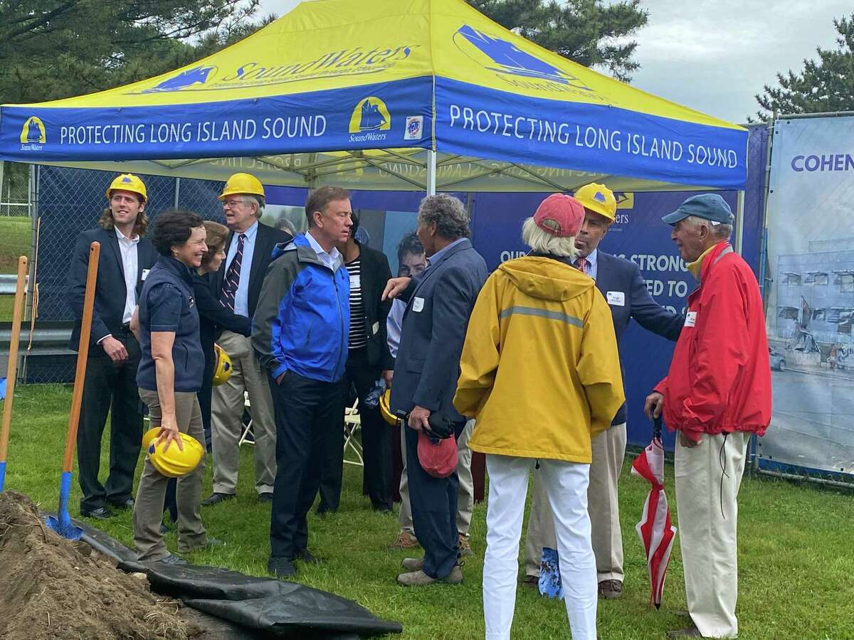 City and state officials - including Stamford Public Schools Superintendent Tamu Lucero, Mayor David Martin, Lt. Gov. Susan Biesywicz, and Gov. Ned Lamont - on Monday, June 14, 2021 celebrated ground breaking on the new Steve and Alexandra Cohen SoundWaters Harbor Education Center.