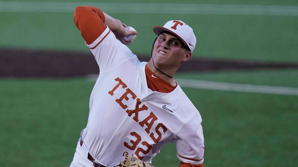 Texas' Ty Madden delivers a pitch against Arizona State in the first inning of Game 4 of the NCAA college baseball regional tournament, Saturday, June 5, 2021, in Austin.