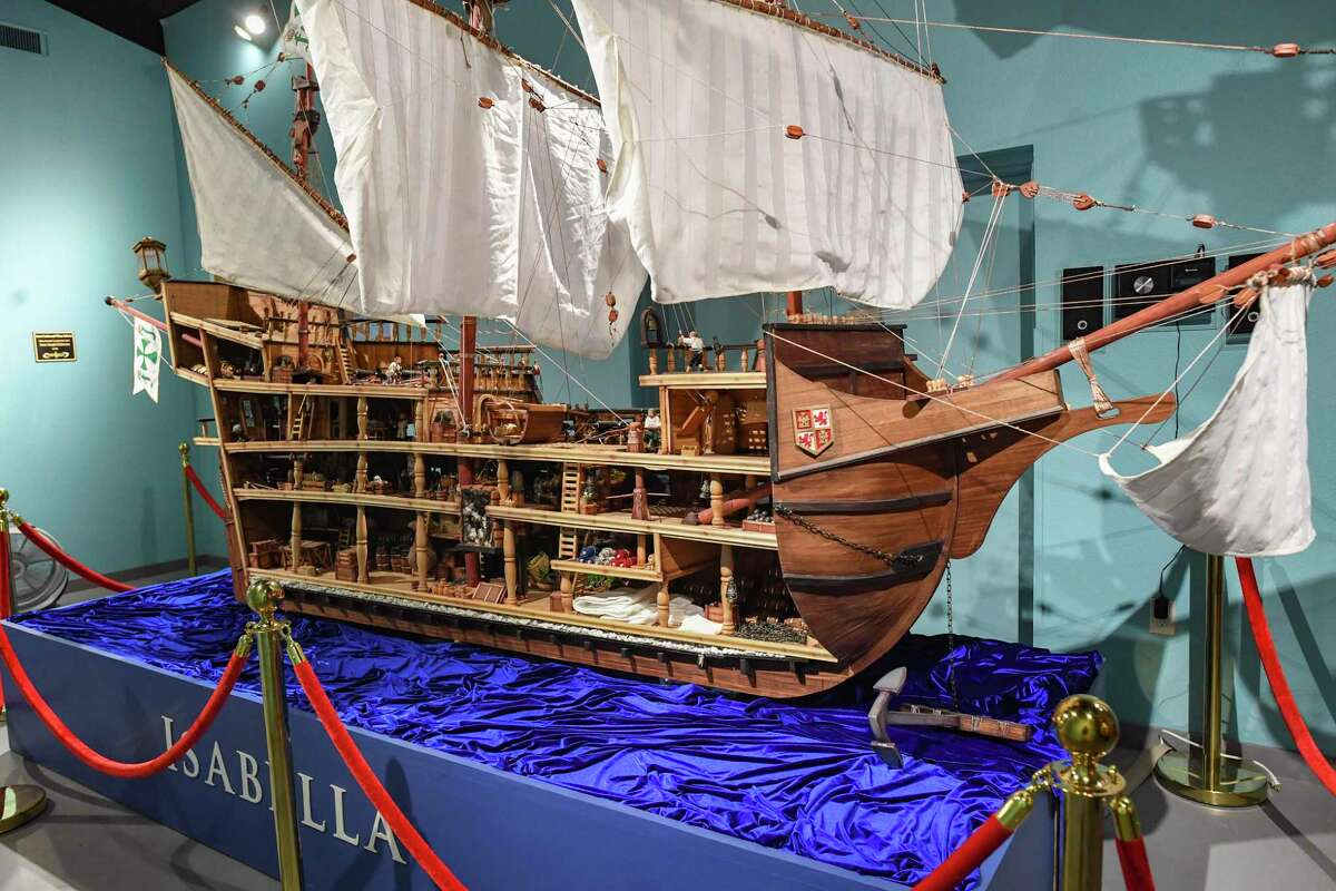 A Spanish galleon of the type that would have sailed between Acapulco, Mexico and Manila in the Philippines is on display in the New Spain art collection at the Bandera Natural History Museum on Thursday, June 10, 2021.