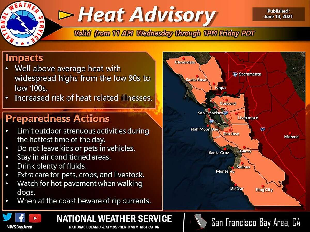 A National Weather Service graphic alerting the Bay Area to a heat advisory beginning Wednesday.
