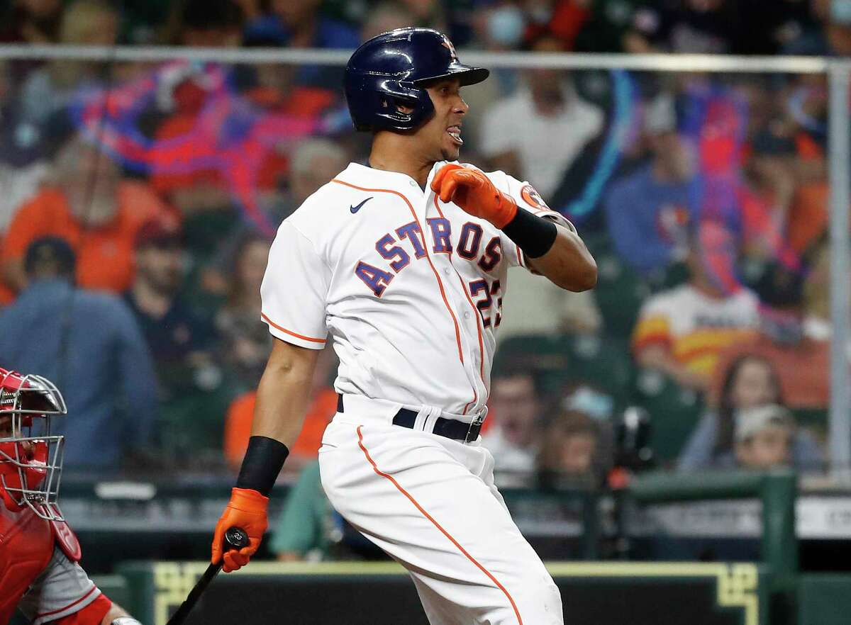 The .337 batting average of Astros left fielder Michael Brantley ranked fourth in the majors through Sunday.