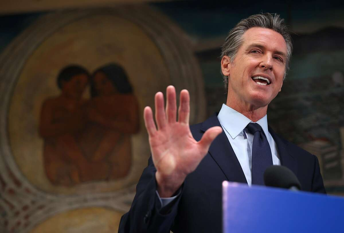 California Gov. Gavin Newsom speaks during a news conference at The Unity Council on May 10, 2021 in Oakland, California.