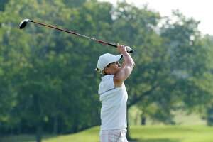 Heidi Harkins tees off during the first round of the Northeastern Women's Golf Association Championship at Schuyler Meadows Golf Club on Tuesday, Aug. 22, 2017, in Albany, N.Y.   (Paul Buckowski / Times Union)