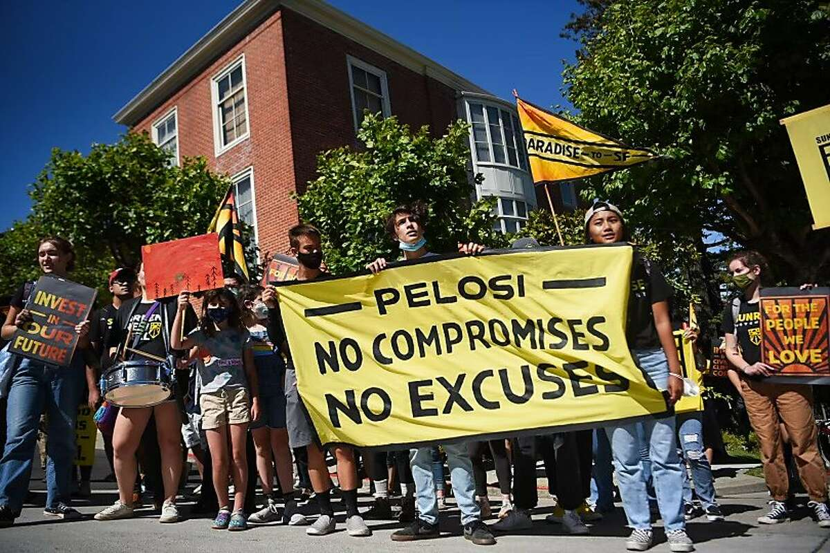 Youth climate activists marched at the San Francisco homes of Rep. Nancy Pelosi and Sen. Dianne Feinstein on Monday, June 14, 2021, calling for the creation of a civilian climate corps to combat global warming.