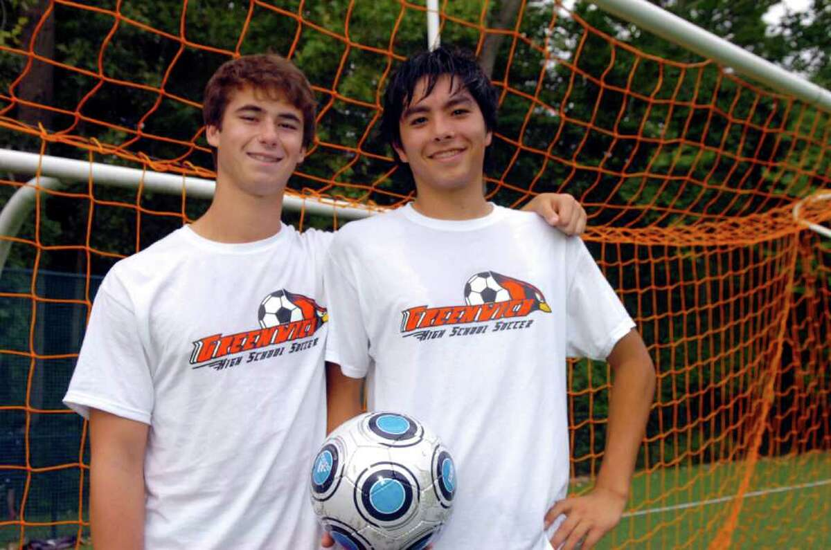 Greenwich High School Boys Soccer captains Andrew Faryniarz, 17, left and Spencer Tanaka, 17, at a practice at the school, on Monday, Sept. 13, 2010.